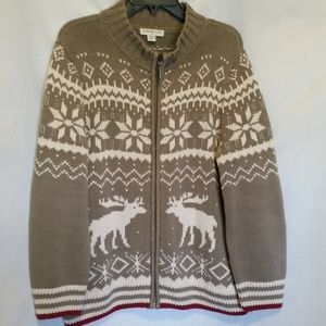 Coldwater Creek Grey Moose Print Sweater Size XL